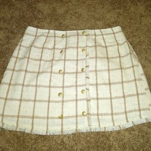 Ivory and Tan Tweed Skirt, With Specks of gold